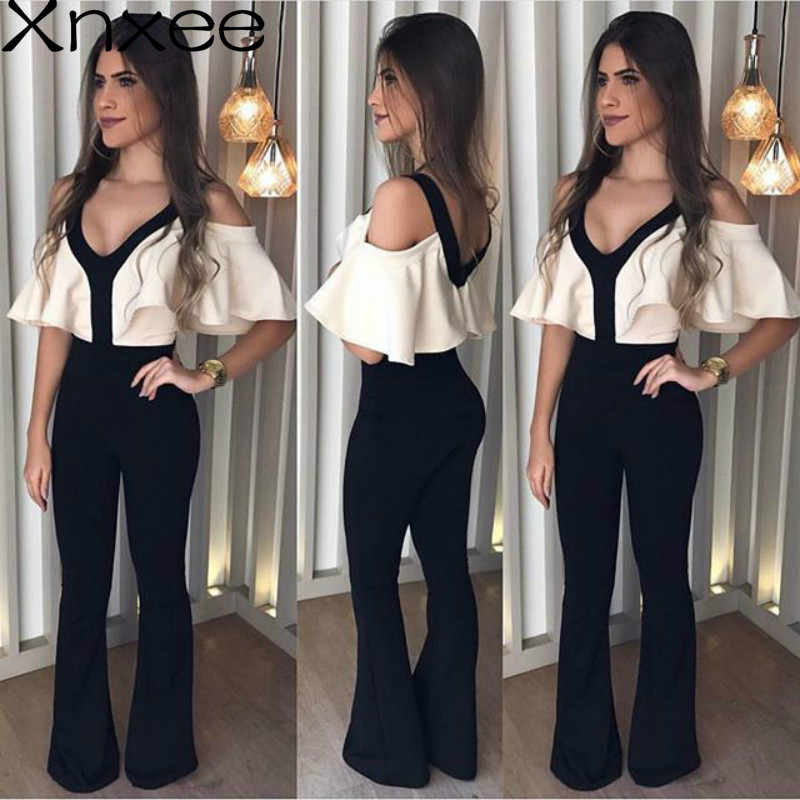Detail Feedback Questions about Xnxee 2019 New Arrival Autumn V neck  Jumpsuits White Top Black Shoulder Off Jumpsuit Xnxee on Aliexpress.com  3085f50257e8