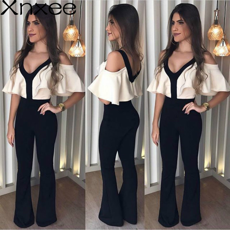 Xnxee 2019 New Arrival Autumn V-neck Jumpsuits White Top Black Shoulder Off Jumpsuit