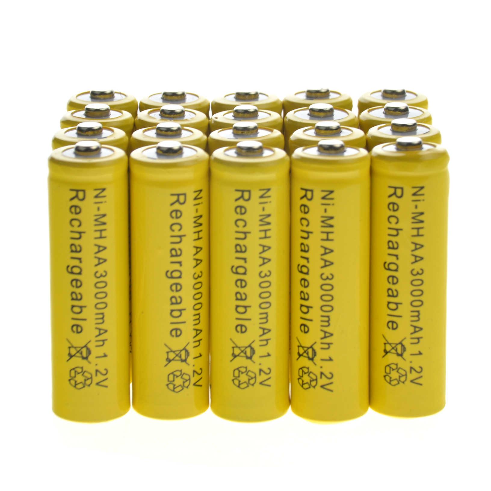 GTF 10pcs 1.2v AA Rechargeable Battery NiMH 3000mAh 1.2V 2A NiMH Bateria for Garden Solar LED Flashlight Toy Cordless Phone