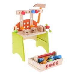 Simulation Wooden Tool Box Table Workbench Workshop Pretend Play Role Playing Game Educational Toys for Children Kids Toddler
