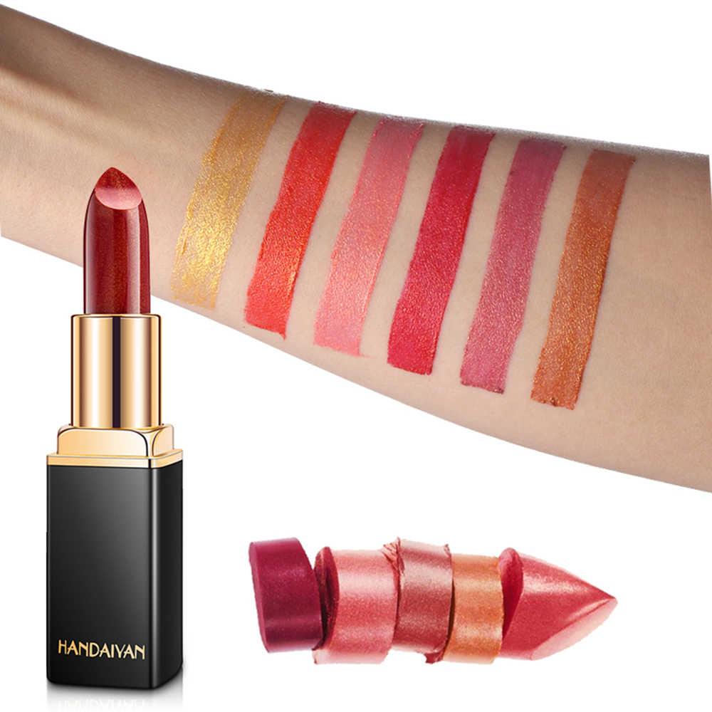 HANDAIYAN Trucco di Marca Camaleonte Rossetto A Lunga Durata Pearly Lip Gloss Moda Stick Labbra di Velluto Rosso maquiagem TSLM2