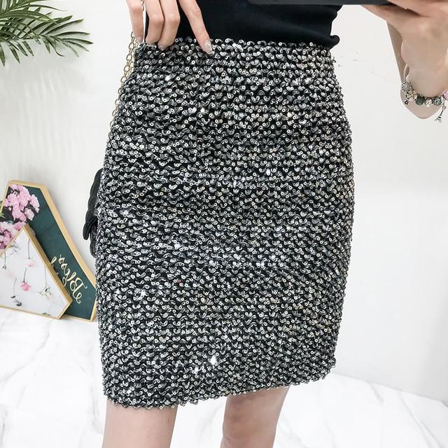 2018 女性の冬のファッションスカートレディーススパンコールスリムパッケージヒップ高弾性スカート女性ナイトクラブ衣装鉛筆スカート
