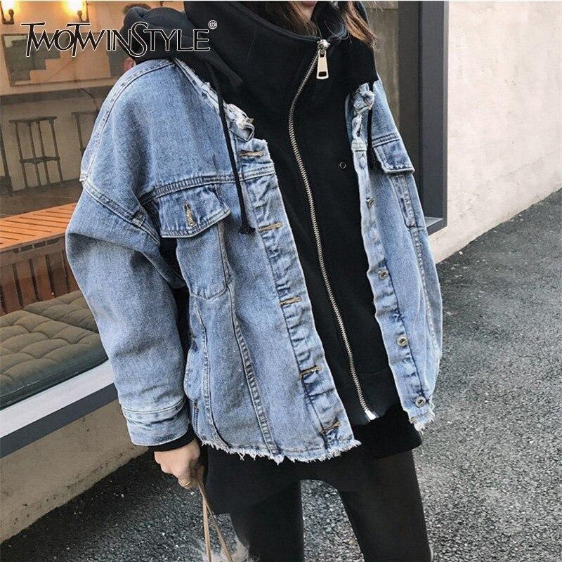 TWOTWINSTYLE Lambswool Denim Patchwork Women s Hoodies Jacket Long Sleeve Plus Thick Korean Coats Female 2019