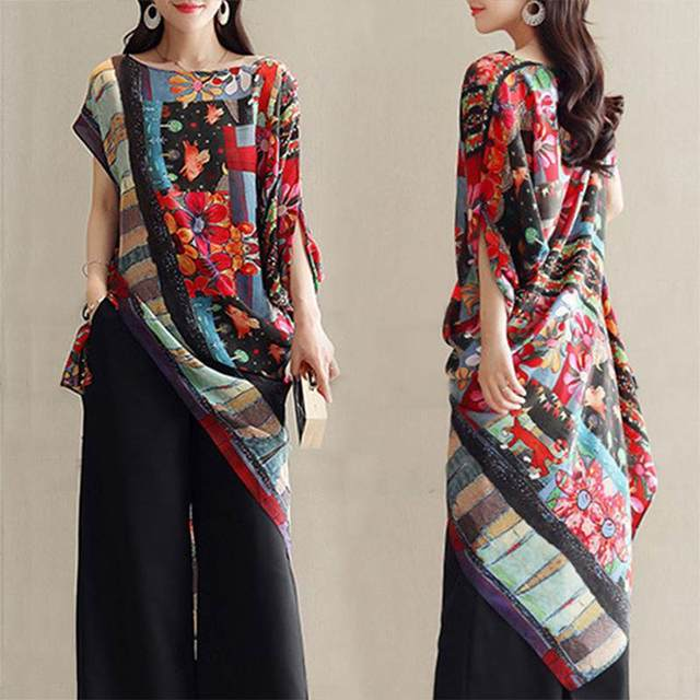 Bohemian Printed Shirt Womens Asymmetrical Blouse 2019 ZANZEA Summer Casual Tunic Female Short Sleeve Blusa Floral Top Plus Size 2