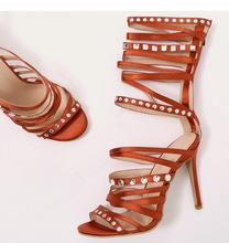 Real Photo Orange Heels Strappy Women Sandals Cut-out Hollow Crystal Studded Decor Gladiator Sandals Women 2019 Wedding Shoes
