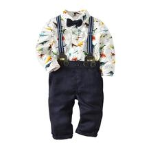 VTOM Baby Boys Sets Long-sleeved Rompers Tops+Suspenders Pants 2PCS Infant Kids Formal Clothes XN78