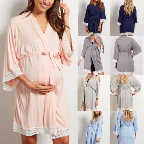 Autumn Pregnant Women Maternity Lace Robes Cotton Long Sleeve Night Robes Sleepwear