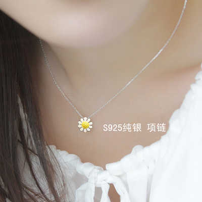 925 Sterling Silver sunflower  Necklaces & Pendants For Women Fashion Lady Festival Gift Sterling-silver-jewelry