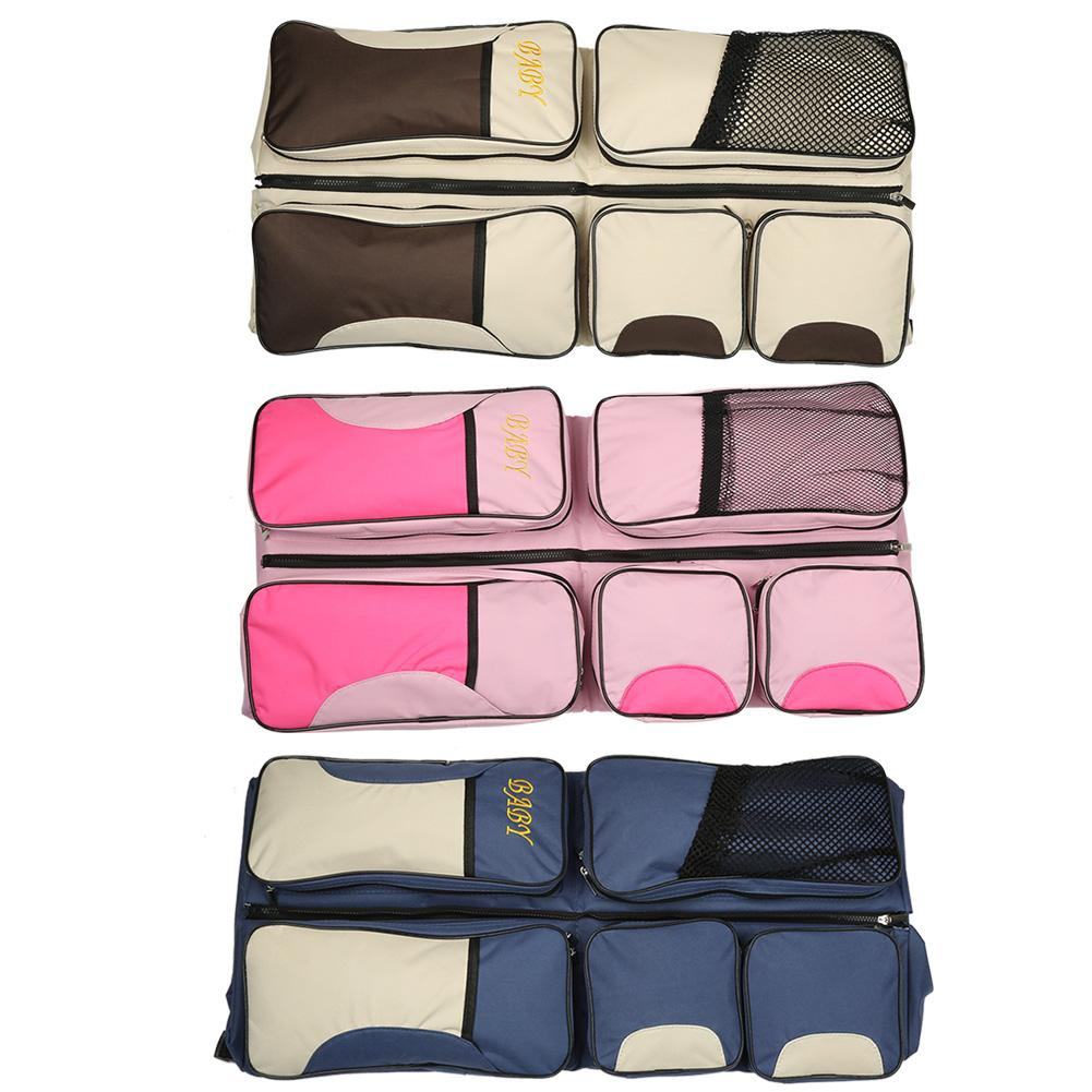 Image 5 - 3 In 1 Waterproof Baby Travel Crib Changing Diapers Foldable Mummy Shoulder Bag Baby Nappy Bag Bassinet Crib Diapers ToteDiaper Bags   -