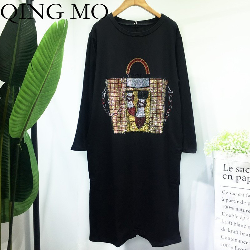 QING MO Bag Pattern Drilling Dress Women Black Long Sleeve T Shirt Dress Knee Length Pullover T Shirt Loose Spring Dress ZLDM009