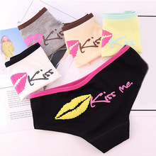 Hot Sale 1PC Printed Letter Kiss Me Lingerie Popular For Women Underwear Cotton High Quality Briefs Candy Color Panties
