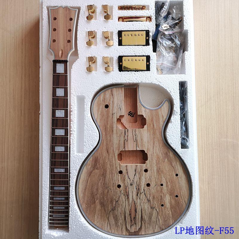 Bricolage Style LP guitare électrique placage d'érable Spalted + acajou africain okoumé corps cou palissandre touche ensemble