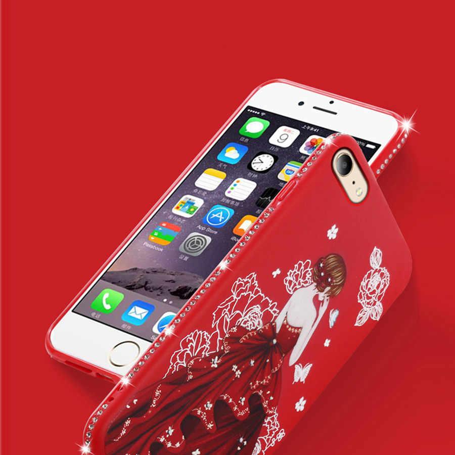 Для iPhone X XS Max Xr S 6 6 S 5S 5 SE крышка милый блеск Роскошные 3D свадебное платье Девушка Алмаз чехол для iPhone 6 6S Plus Coque