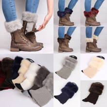 2019 New Furry Knee Sleeve Womens Winter Knitted Boot Cuffs Fur Knit Toppers Boot Socks Legs Warmers(China)
