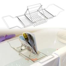 Stainless Steel Retractable Storage Rack Shelf for Bathroom Bathtub shower shelf Shampoo Holder room basket