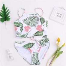 Sexy String Swimwear Print Floral Swimsuit Women Striped Bikini Set Female Mid Waist High Cut Bathing Suit Summer Swimming Suit string striped bikini set with tassel