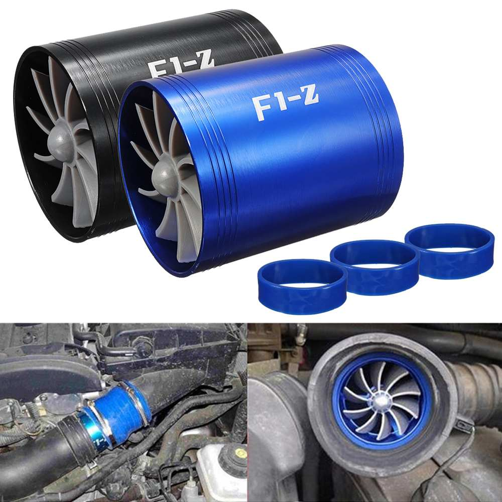 Dual Fan Supercharger Power Air Intake Turbonator with 3 Non-Slip Rubber  Holder for Turbine Gas Saver Turbo