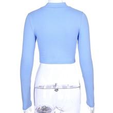 Sexy Turtleneck Crop Top Long Sleeve T Shirt Women 2018 Autumn Printed Letter Tee Shirt Femme Streetwear Basic T-shirt