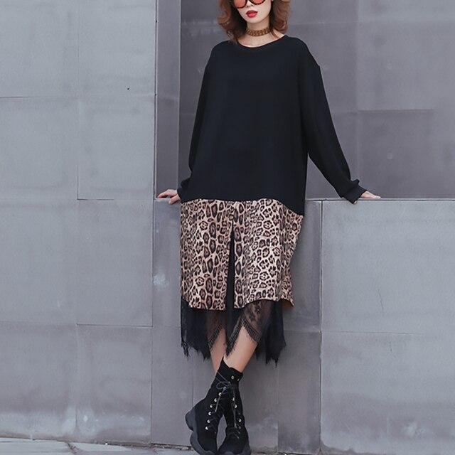 [EAM] 2019 New Spring Winter Round Neck Long Sleeve Black Hem Leopard Lace Large Size Thick Dress Women Fashion Tide JK869 5