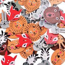 50 шт. 2 отверстия животные деревянные пуговицы в форме ремесла DIY Скрапбукинг Декоративные пуговицы для шитья для украшения одежды