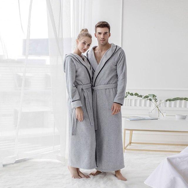 2018 New Men Women Autumn Winter Bathrobes Luxury Microfiber Fleece Hooded  Robes Male Female Bath Robe a2f756283