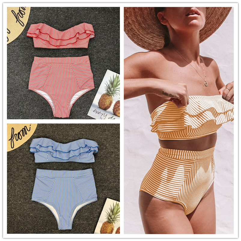 2019 <font><b>Summer</b></font> <font><b>Hot</b></font> <font><b>Sexy</b></font> <font><b>Women</b></font> High-Waist <font><b>Bikini</b></font> Set Striped Swimsuit Swimwear Bathing Suit Beach image
