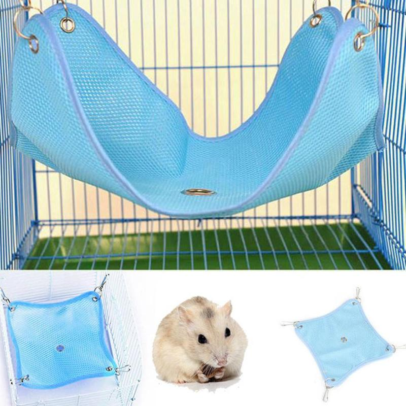 Summer Pet Hammock Hanging Bed House for Hamster Mice Rat Rodents Cage Swing Toys Breathable Nest Small Animals Pet Supplies S/M