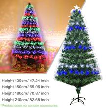 [UK Ship] 2020 New Year Christmas Tree Colorful Optic Fiber Lamp Green Iron Stand Home Decoration navidad 1.2M 1.5M 1.8M 2M
