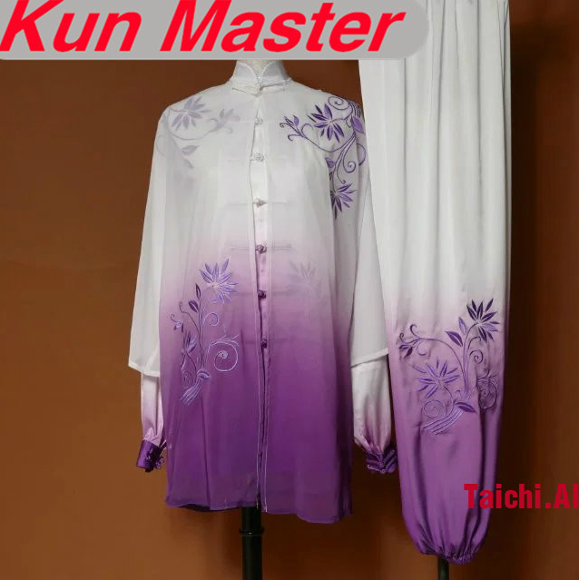 Custom Tai Chi Performance Uniform White Violet Gradual Change Color Embroidery  Martial Art Clothing For Kung Fu Three Pieces