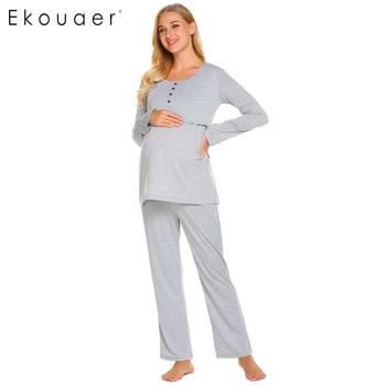 Ekouaer Pajama Set Women Long Sleeve Winter Sleepwear Suits Breastfeeding Maternity Soft Pajamas Sleepwear Ladies Homewear pajamas