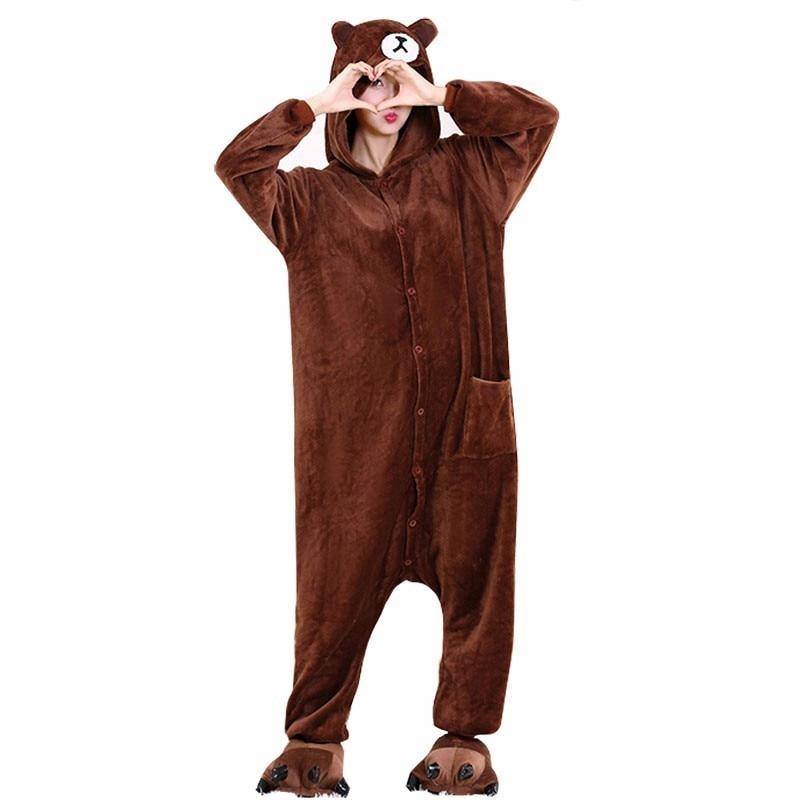 Adult Brown Bear Kigurumi Women Men Cartoon Cosplay Costume Winter Warm Onesie Pajama With Slippers Couple Funny Party Suit