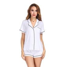 לבן צבע בית חליפת סט קצר שרוול עם מכנסיים פיג מה סט שני Pcs קיץ מזדמן סגנון 2019 פיג מה Mujer Verano