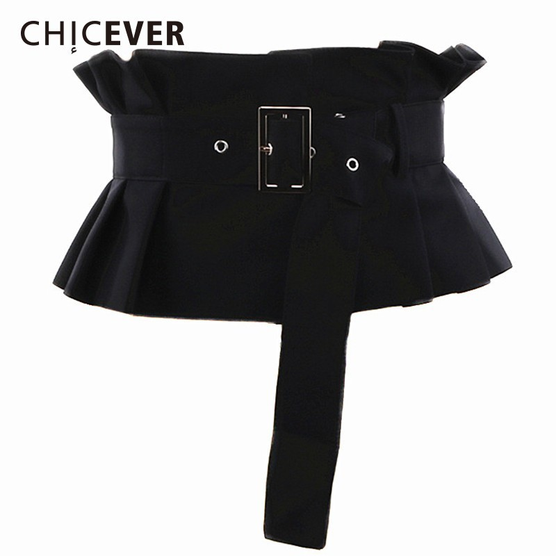 CHICEVER 2020 Spring Autumn Corset Belts For Women Pleated Ruffles Adjustable Waist Black Belt Female Korean Fashion Clothes New