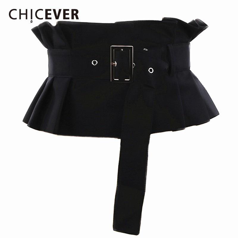 CHICEVER 2020 Spring Autumn Corset Belts For Women Pleated Ruffles Adjustable Waist Black Belt Female Korean Fashion Clothes New