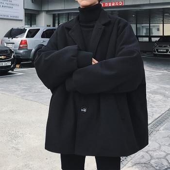 2019 Korean Winter Man Fashion Tide Turn-down Collar Bat Sleeve Loose Casual Black/Khaki Color Woolen Blends Overcoat Coat S-3XL 1