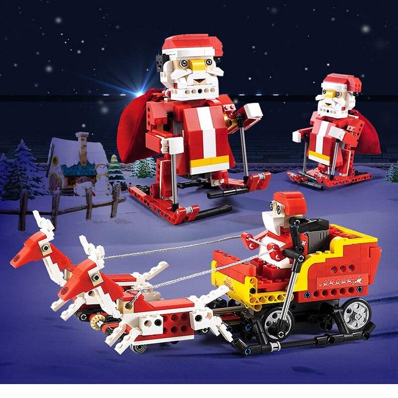 Cada Double E 439 pièces 2 Dans 1 0.36 KM/H Santa Claus Transformation Traîneau Voiture Enfants Building Block Assembler jouets électriques pour Enfants