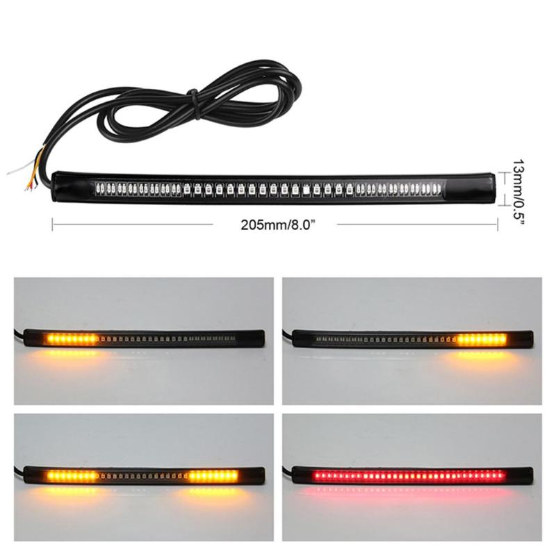 48LED Flexible Motorcycle Brake Turn Signal Light Strip License Plate Tail Lamp Off-road Moto Taillight Bar 2835SMD+3014SMD