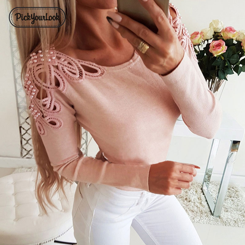 Pickyourlook Knitted Tops Women Sweater Hollow Out Autumn Pearl Female Jumper Knitwear Long Sleeve Solid Ladies Knitwear Blusas