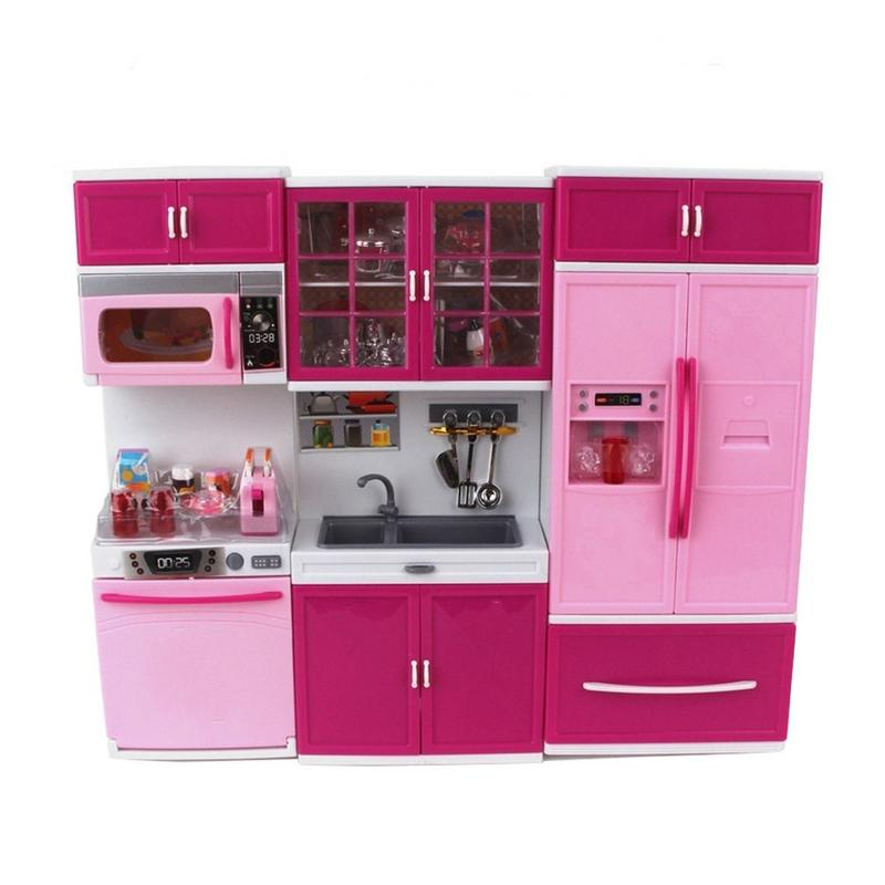 Kids pretend Kitchen toy Pink Cabinet set Girl's toy cooking set for baby Xmas New year's best gift