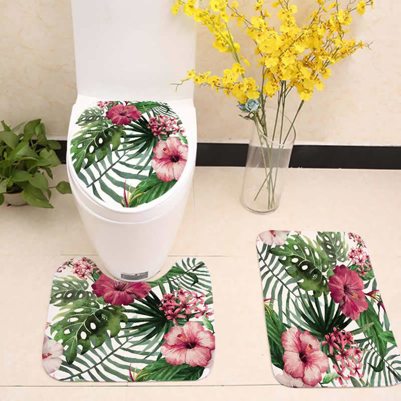3pcs/set Bathroom Mat Set Plants Leaf Flower Flannel Floor Rugs Cushion Toilet Seat Cover Bath Mat for Home Bathroom Decoration