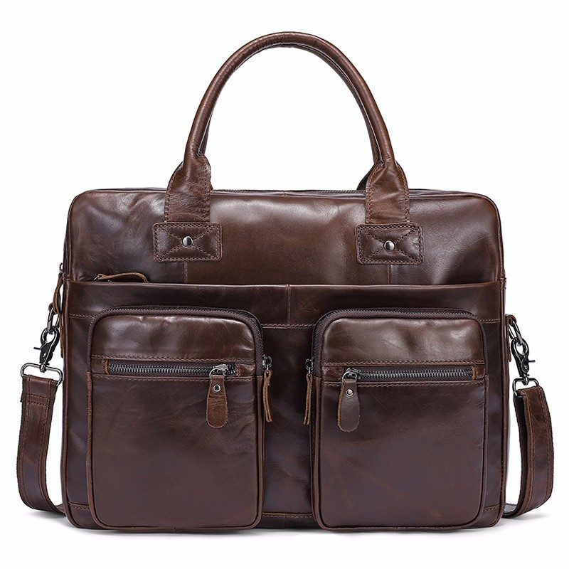 คุณภาพสูง Messenger กระเป๋าผู้ชายกระเป๋าหนังแท้ Casual ชาย man briefcases แล็ปท็อปผู้ชาย Crossbody ชาย-ใน กระเป๋าเอกสาร จาก สัมภาระและกระเป๋า บน   1