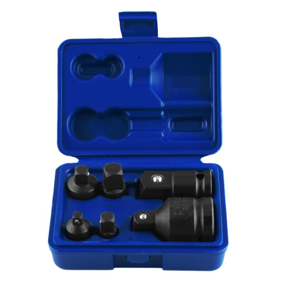 6 pçs/set Chave Soquete Mão Conjunto de Ferramentas Chave Soquete de Impacto Adaptador Adaptador Redutor 1/4 1/2 3/8 3/4 Catraca Motorista Do Disjuntor