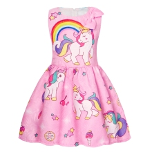 AmzBarley Little Girls Dress Stars Rainbow Unicorn Costume Cartoon Print Sleeveless Up Cosplay Birthday Party Clothes