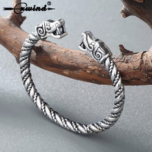 Cxwind Viking Animal Wolf Bracelets For Women Male Fashion Twisted Accessories Retro Dragon Bracelets Wristband Cuff Bangles(China)