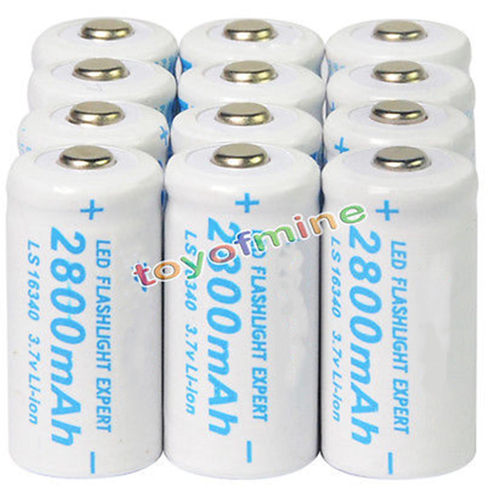 2-50 pcs Lot 2800 mAh CR123A 123A CR123 16340 3.7 V Li-Ion Bateria Recarregável Para Tocha