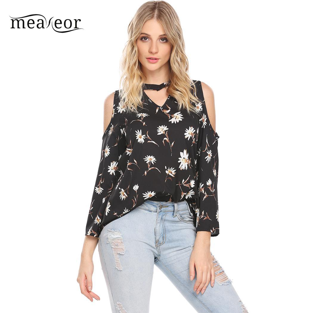 Women/'s Printed Long-Sleeve Blouses with Cut-Out Shoulders