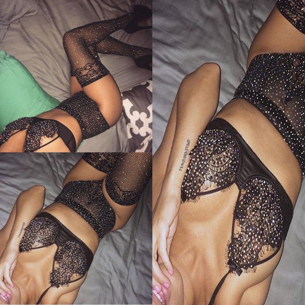 NEW Women's Sexy Lingerie Babydoll Sleepwear Underwear Lace BLACK   Sets   Best Fashion Rhinestone Sequin   Brief     Sets