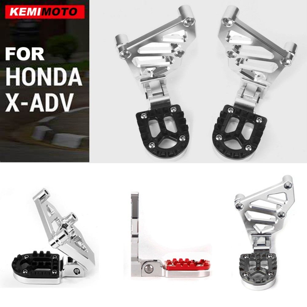 KEMiMOTO Rear Foot Pegs Footrest Passenger Rear Foot Set For HONDA X ADV 750 2017 2018 X-ADV Folding Motorcycle Accessories