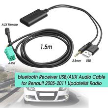 2 In 1 Nirkabel Bluetooth Receiver Mobil Stereo USB/AUX Kabel Aux Audio Musik Adaptor untuk Renault 2005- 2011 Updatelist Radio Kit(China)