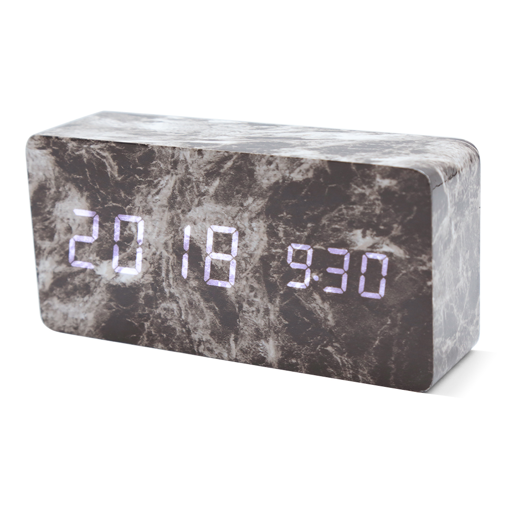 24 Timer Sound us $8.31 33% off digital led alarm clock dual screen sound control wooden  12/24 hours alarm clock automatic temperature usb charging cable timer-in